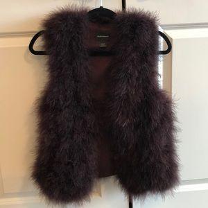 Club Monaco Violet Marabou Feather Vest, Burgundy